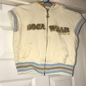 Rocawear Authentic sleeveless crop cream hoodie